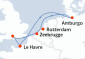 Le Havre, Southampton, Zeebrugge, Rotterdam, Rotterdam, Amburgo, Navigazione, Le Havre