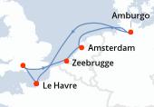 Le Havre, Southampton, Zeebrugge, Amsterdam, Amsterdam, Amburgo, Navigazione, Le Havre