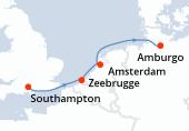 Southampton, Zeebrugge, Amsterdam, Amsterdam, Amburgo