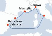 Barcellona, Marsiglia, Genova, Civitavecchia - Roma, Navigazione, Valencia