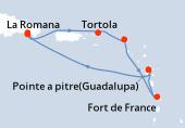 Pointe a pitre(Guadalupa), Navigazione, La Romana, La Romana, Isola Catalina, Tortola, Philipsburg (Saint Maarten), Fort de France, Pointe a pitre(Guadalupa)