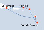 La Romana, La Romana, Isola Catalina, Tortola, Philipsburg (Saint Maarten), Fort de France, Pointe a pitre(Guadalupa), Navigazione, La Romana