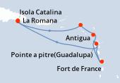 La Romana, La Romana, Isola Catalina, Philipsburg (Saint Maarten), Antigua, Fort de France, Pointe a pitre(Guadalupa), Navigazione, La Romana