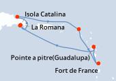 Pointe a pitre(Guadalupa), Navigazione, La Romana, La Romana, Isola Catalina, Samana, Philipsburg (Saint Maarten), Fort de France, Pointe a pitre(Guadalupa)